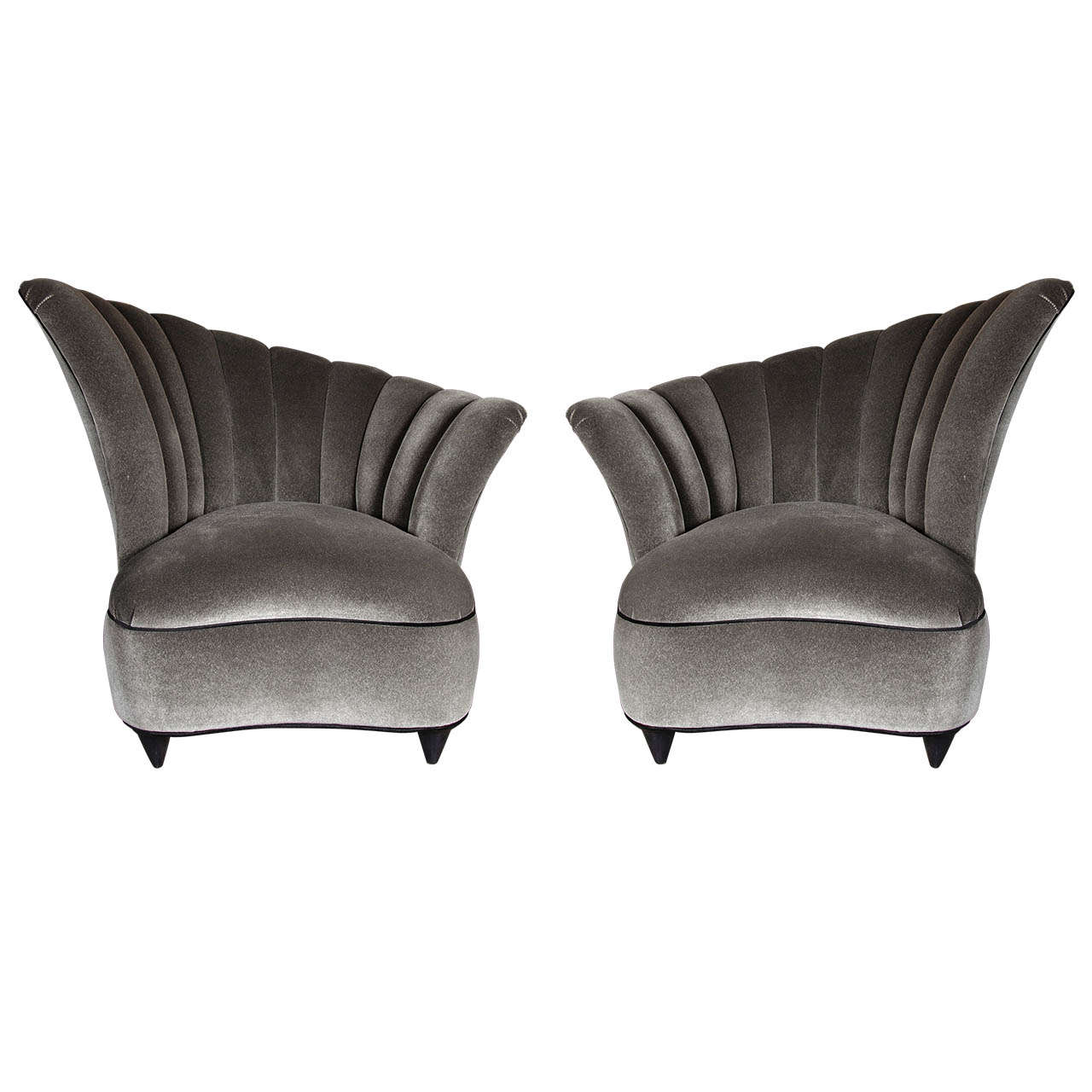 Genial Pair Of Hollywood Asymmetrical Tufted Hollywood Chairs For Sale