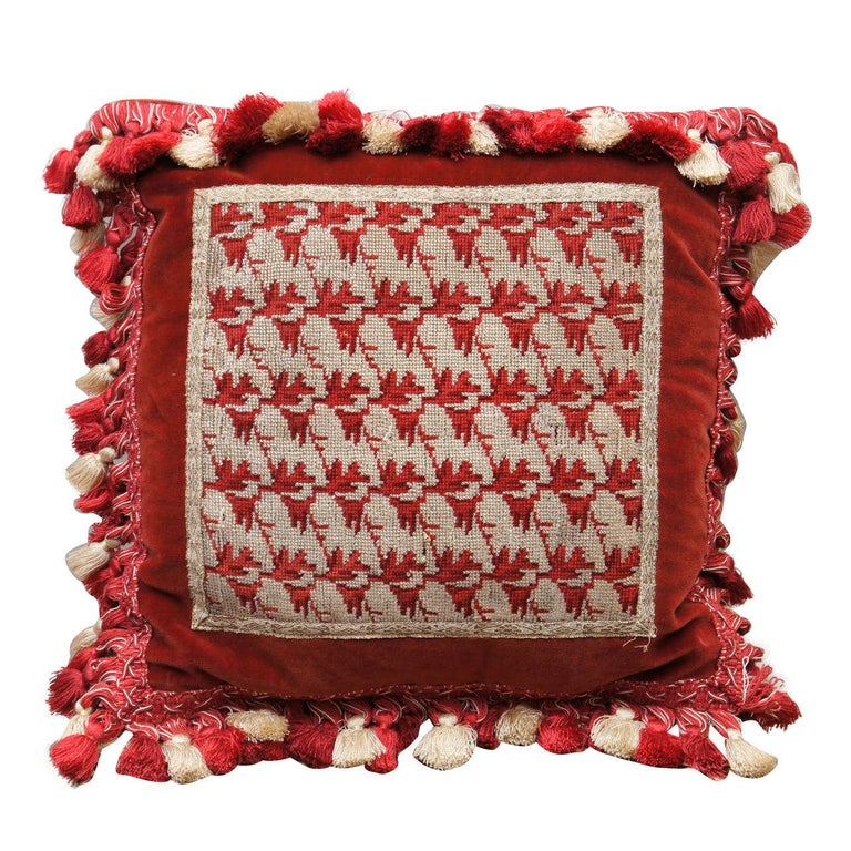 Victorian Silver Beadwork Pillow For Sale