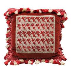 Victorian Silver Beadwork Pillow
