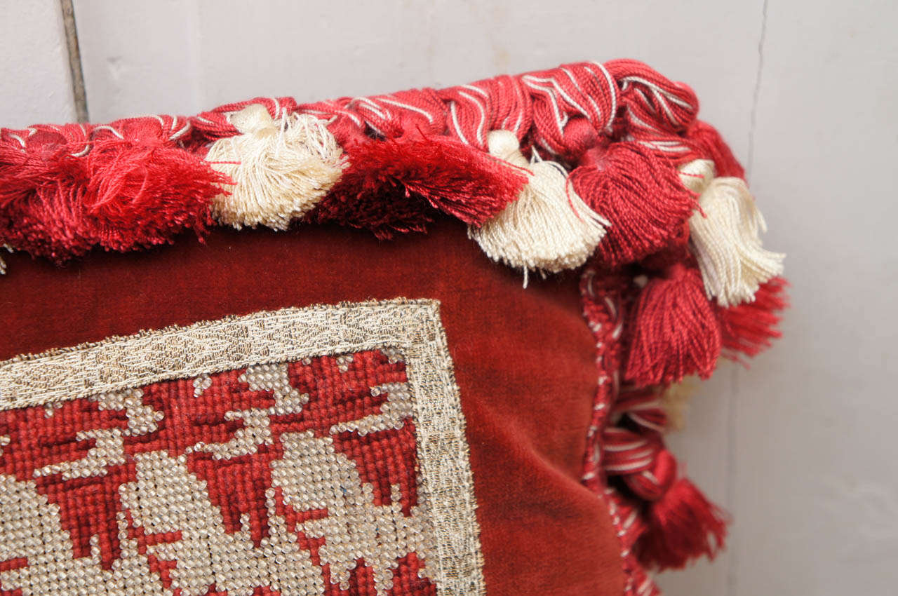 English Victorian Silver Beadwork Pillow For Sale