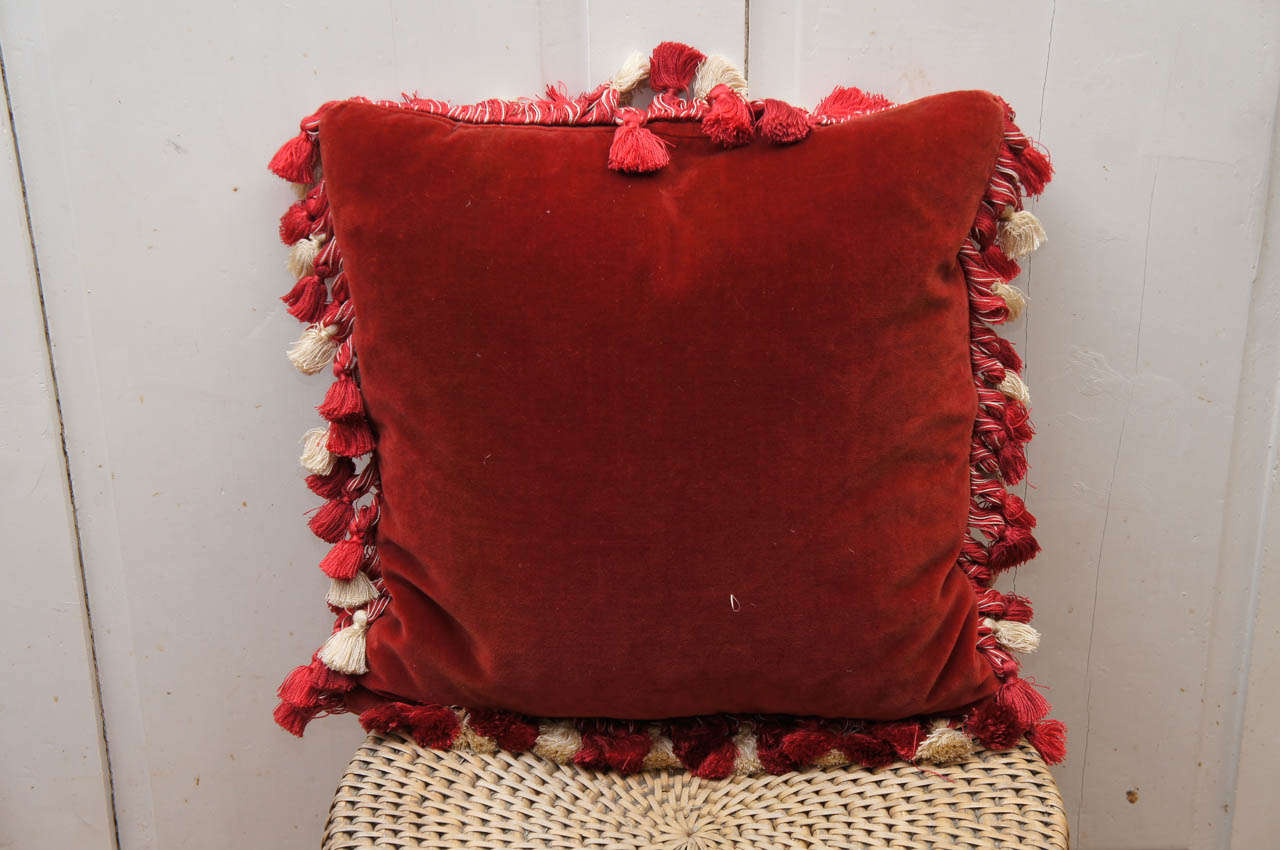 19th Century Victorian Silver Beadwork Pillow For Sale
