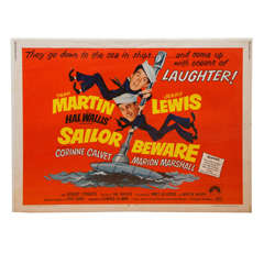 "1952 Dean Martin & Jerry Lewis ""Sailor Beware"" Movie Poster"