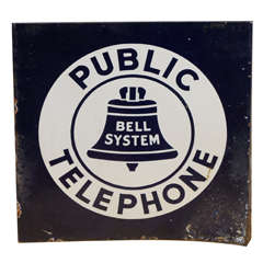 Bell System Double-Sided Steel Telephone Sign