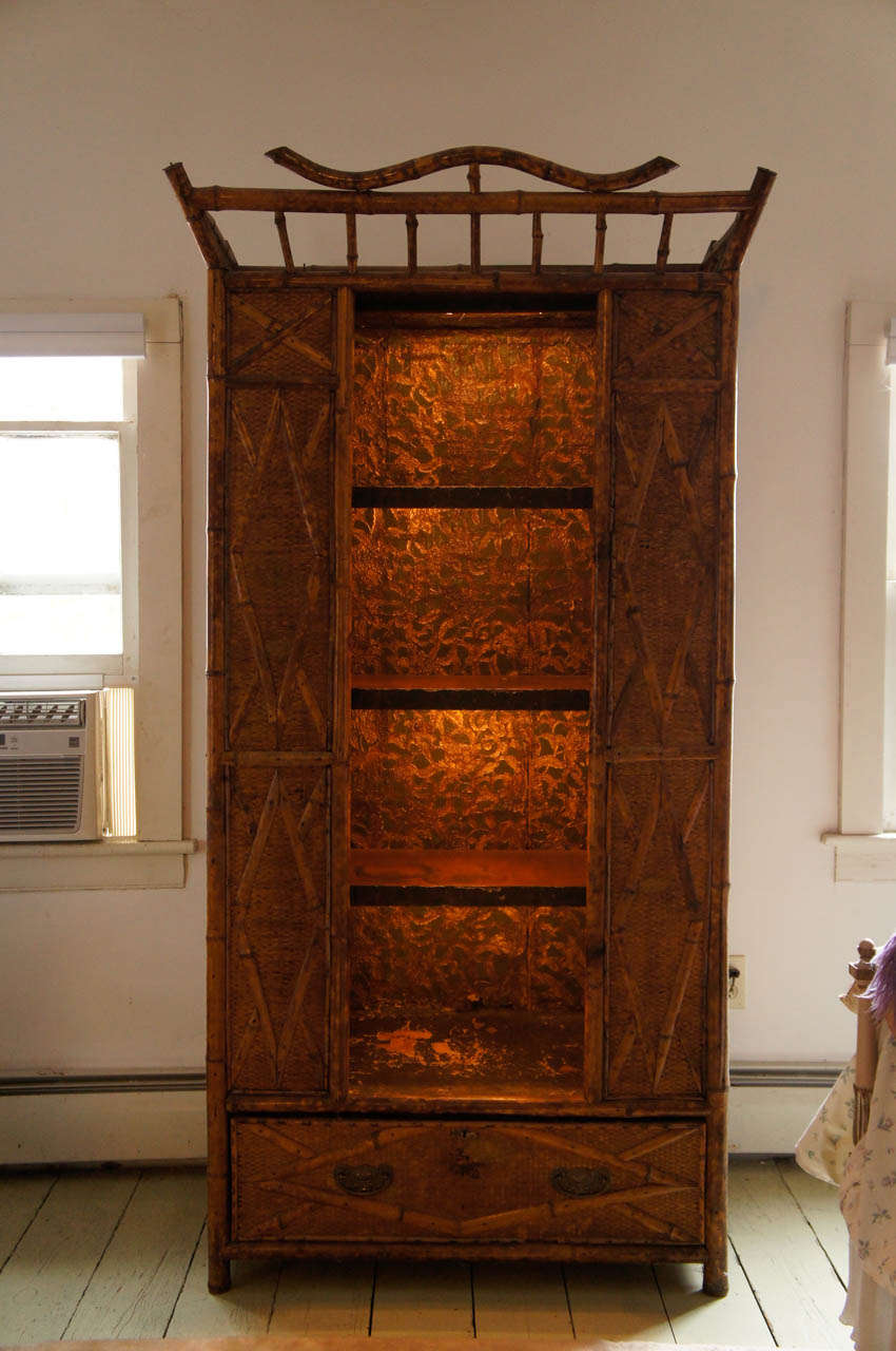 Bamboo And Seagrass 19th Century Victorian Armoire With
