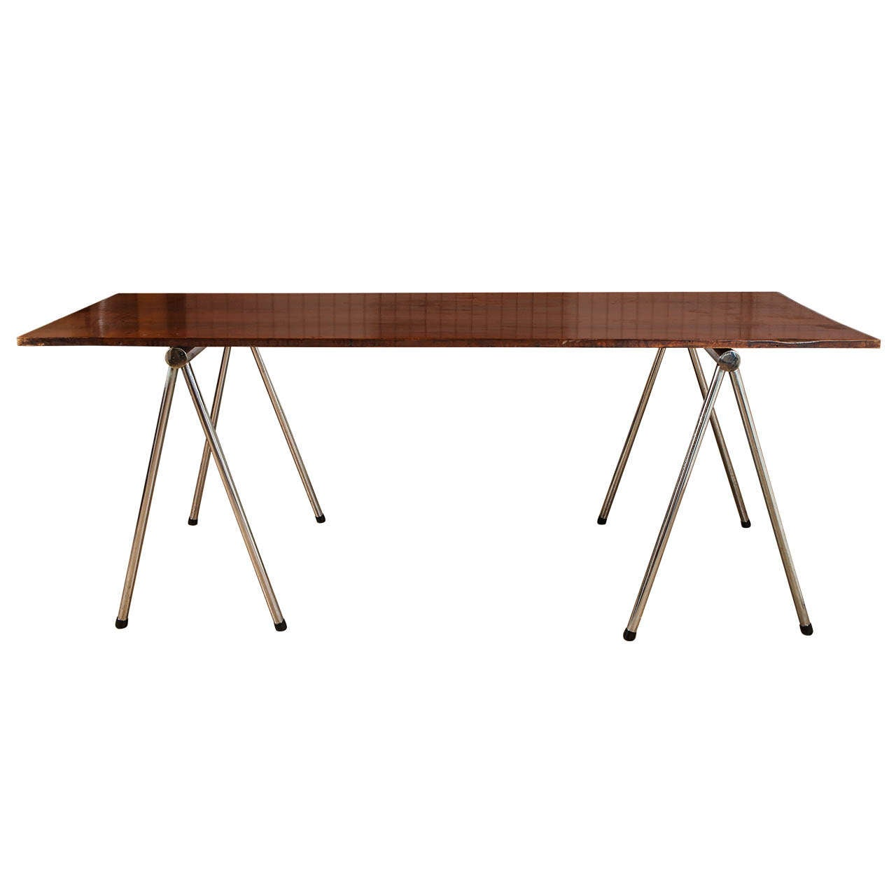 Chrome Sawhorse Table At 1stdibs