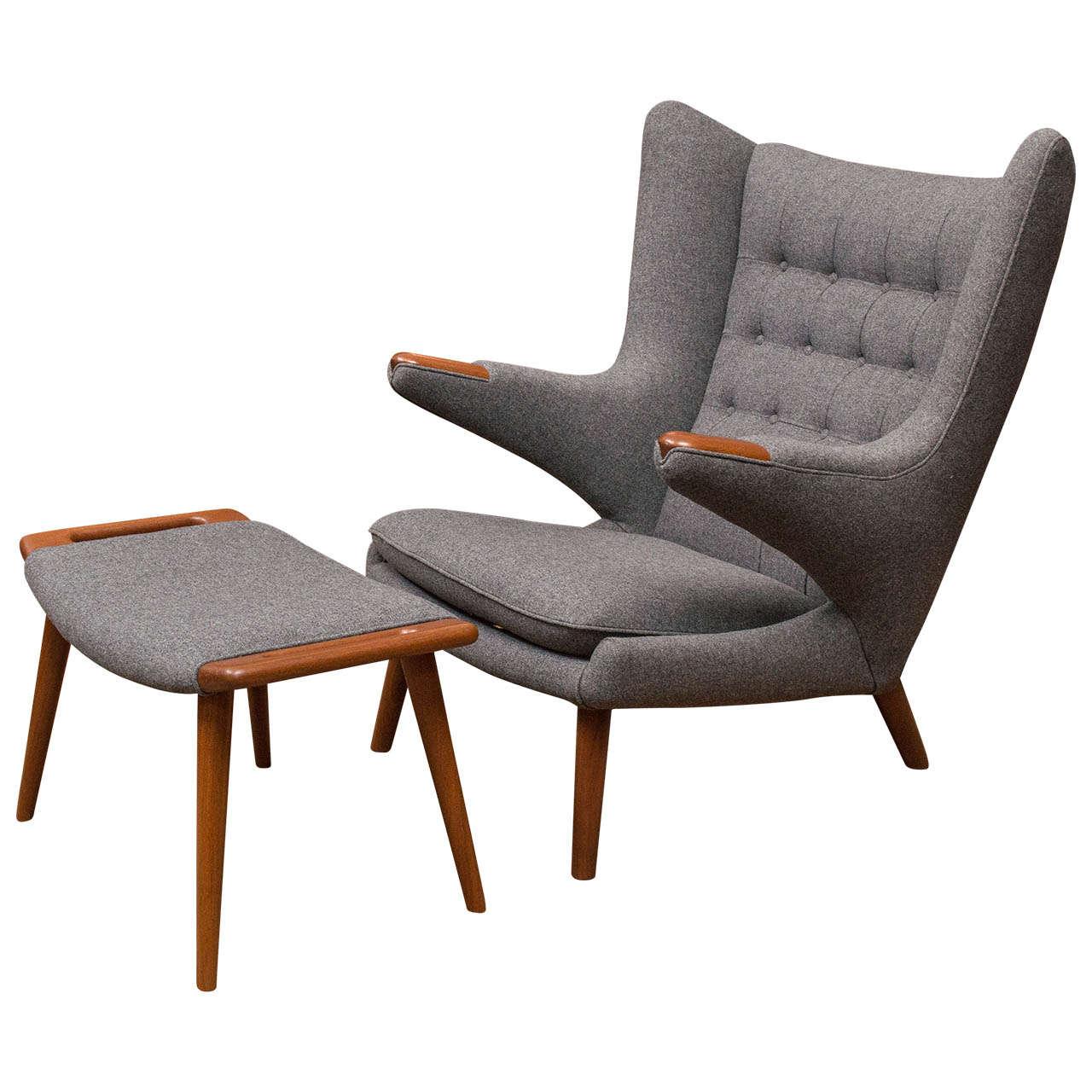 Miraculous Hans Wegner Papa Bear Chair And Ottoman At 1Stdibs Ibusinesslaw Wood Chair Design Ideas Ibusinesslaworg