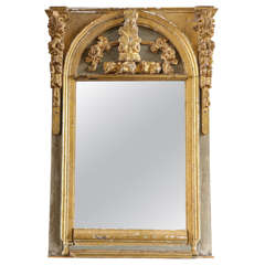 Blue Painted and Gilded Carved Mirror Made with Early Altar Elements