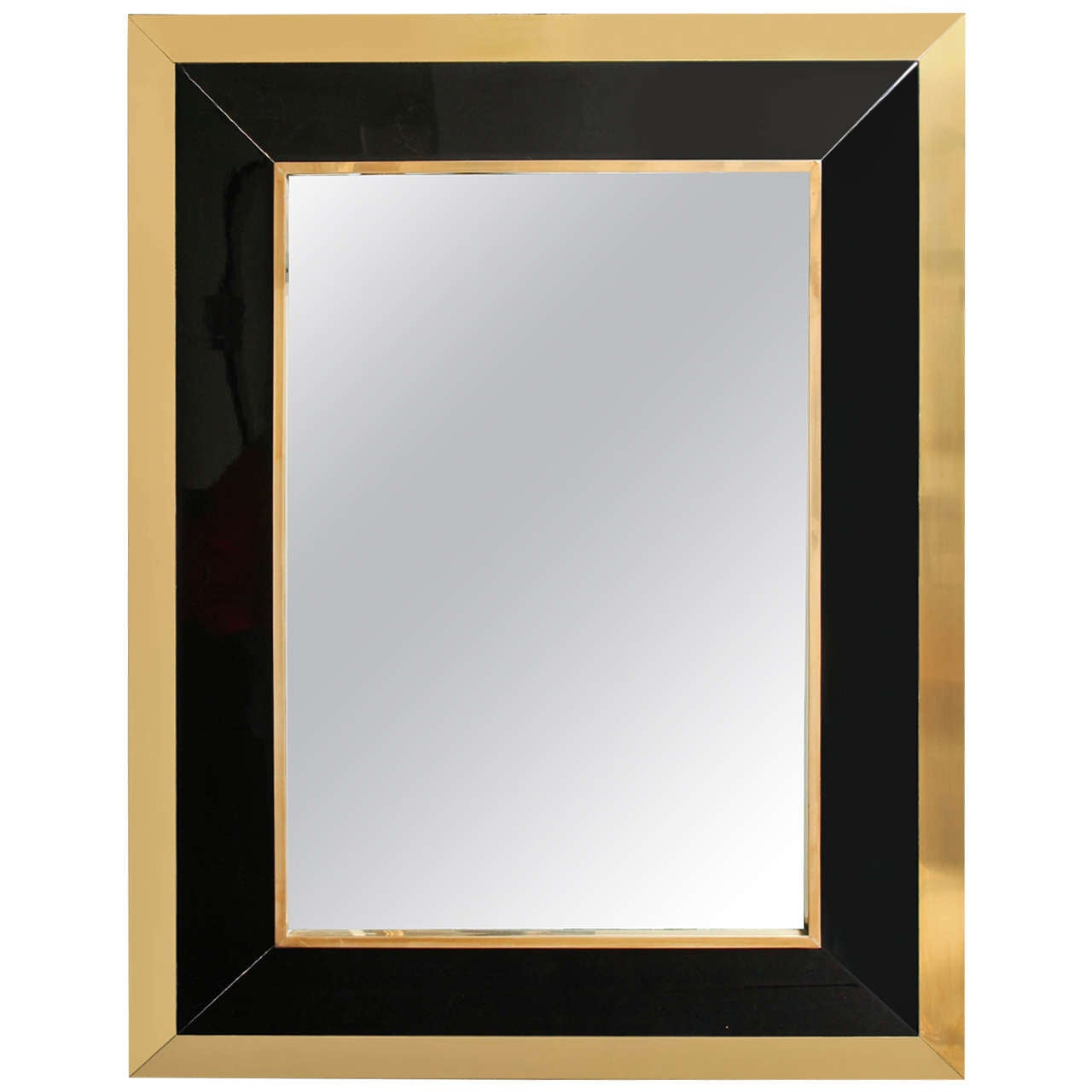 Rectangular Brass and Black Lacquer Wall Mirror, French, 1970s