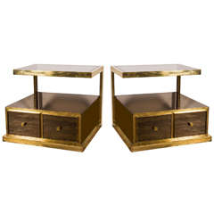 Pair of Bronze and Mirrored Nightstands by Michel Pigneres, 1970