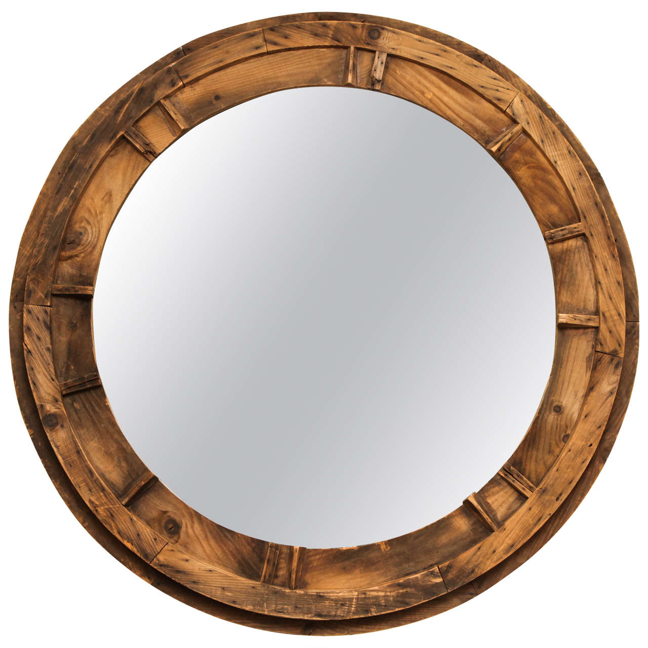 Large Round Sandmold Mirror At 1stdibs