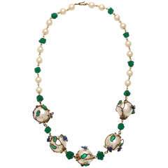 Vintage Chanel Poured Glass and Wired 'Pearl' Necklace