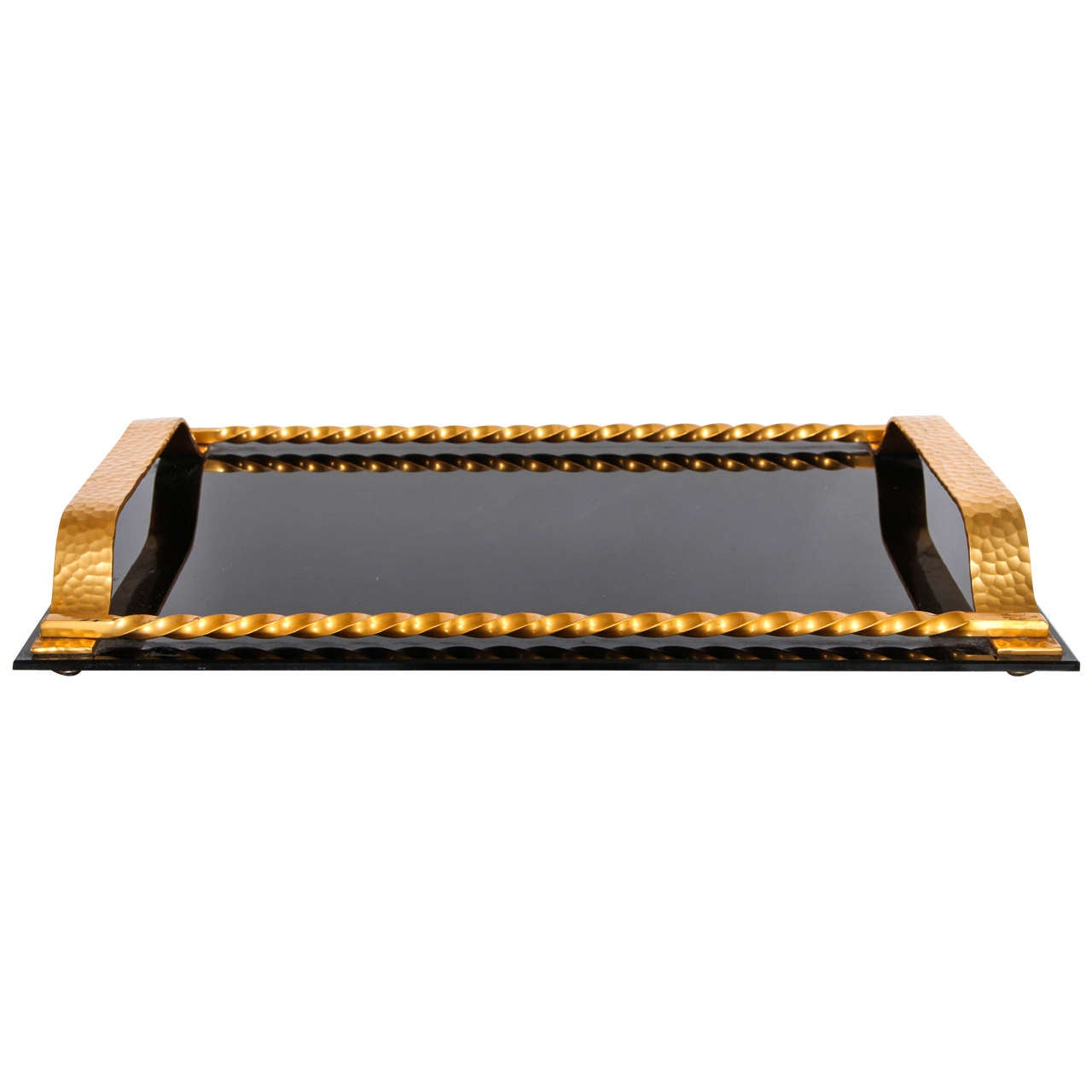 French Black Glass and Hand-Hammered Bronze Tray