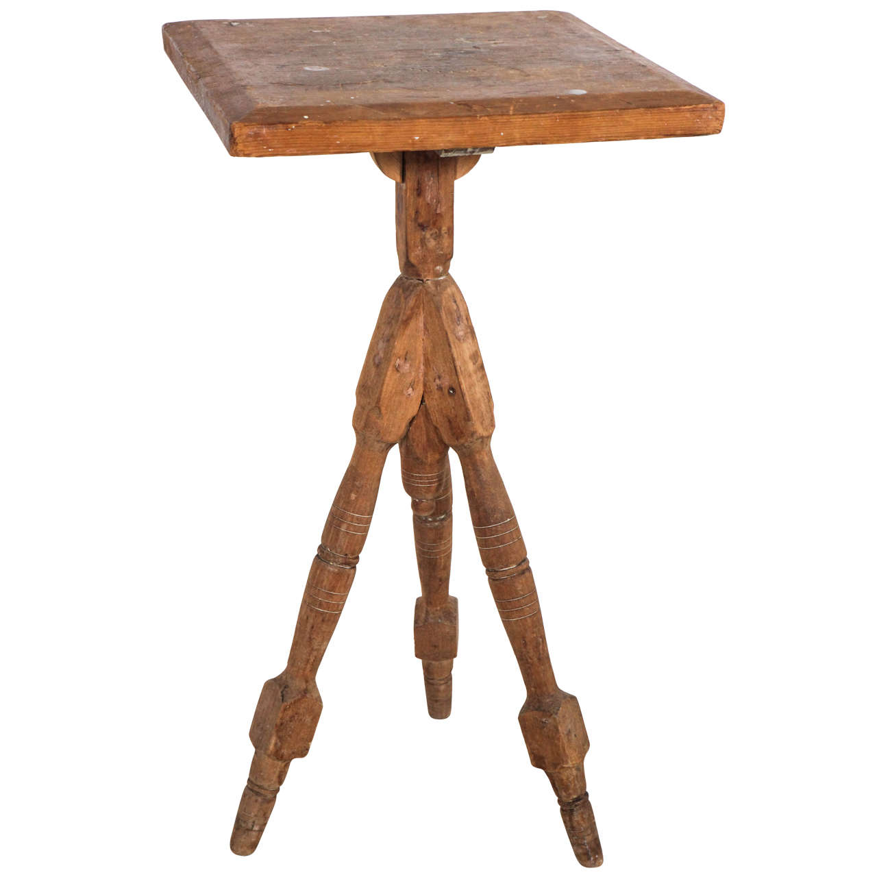 Vintage wood tripod spindle leg side table at stdibs