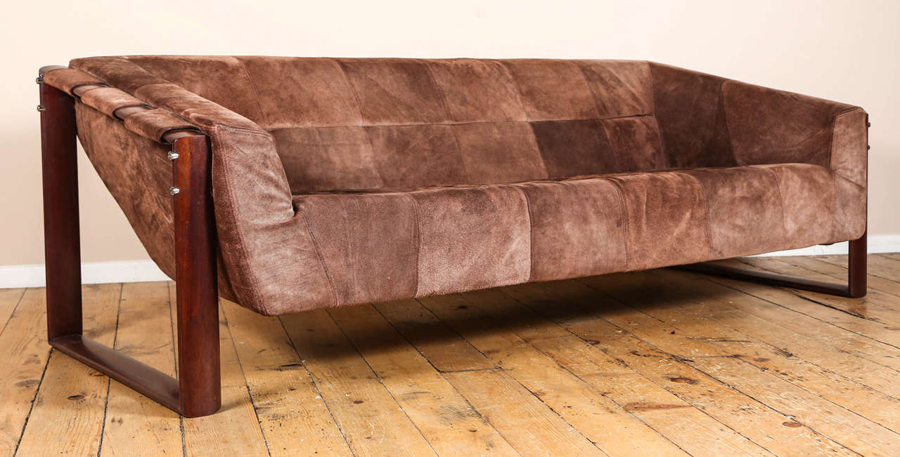 Genial Rosewood And Suede Sofa By Percival Lafer. Labeled Made In Brazil, April 6,