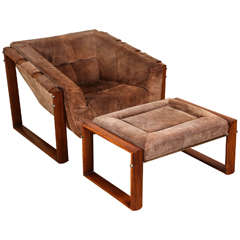 Rosewood and Suede Lounge Chair and Ottoman by Percival Lafer