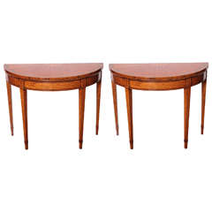 19th Century Sheraton Satinwood Demilune Card Tables