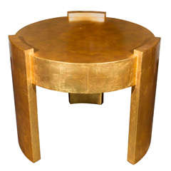 Gold Leaf Art Deco Style Table Attributed to Joseph de Coene