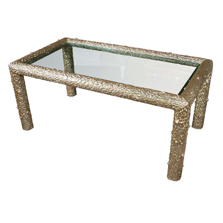 White Gold Leaf Hand Carved Faux Bois Table For Sale At 1stdibs