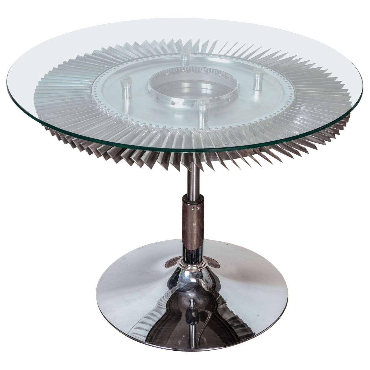 aviation jet engine turbine fan coffee table at 1stdibs