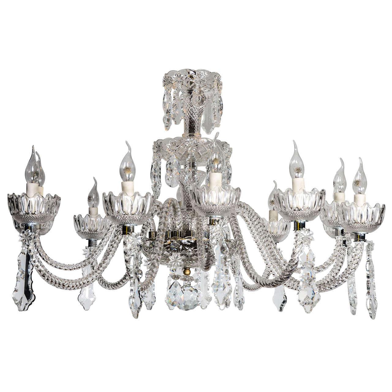 Short Italian Mid Century 12 lights all  Crystal Chandelier For Sale