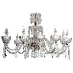 Short Italian Mid Century 12 lights all  Crystal Chandelier