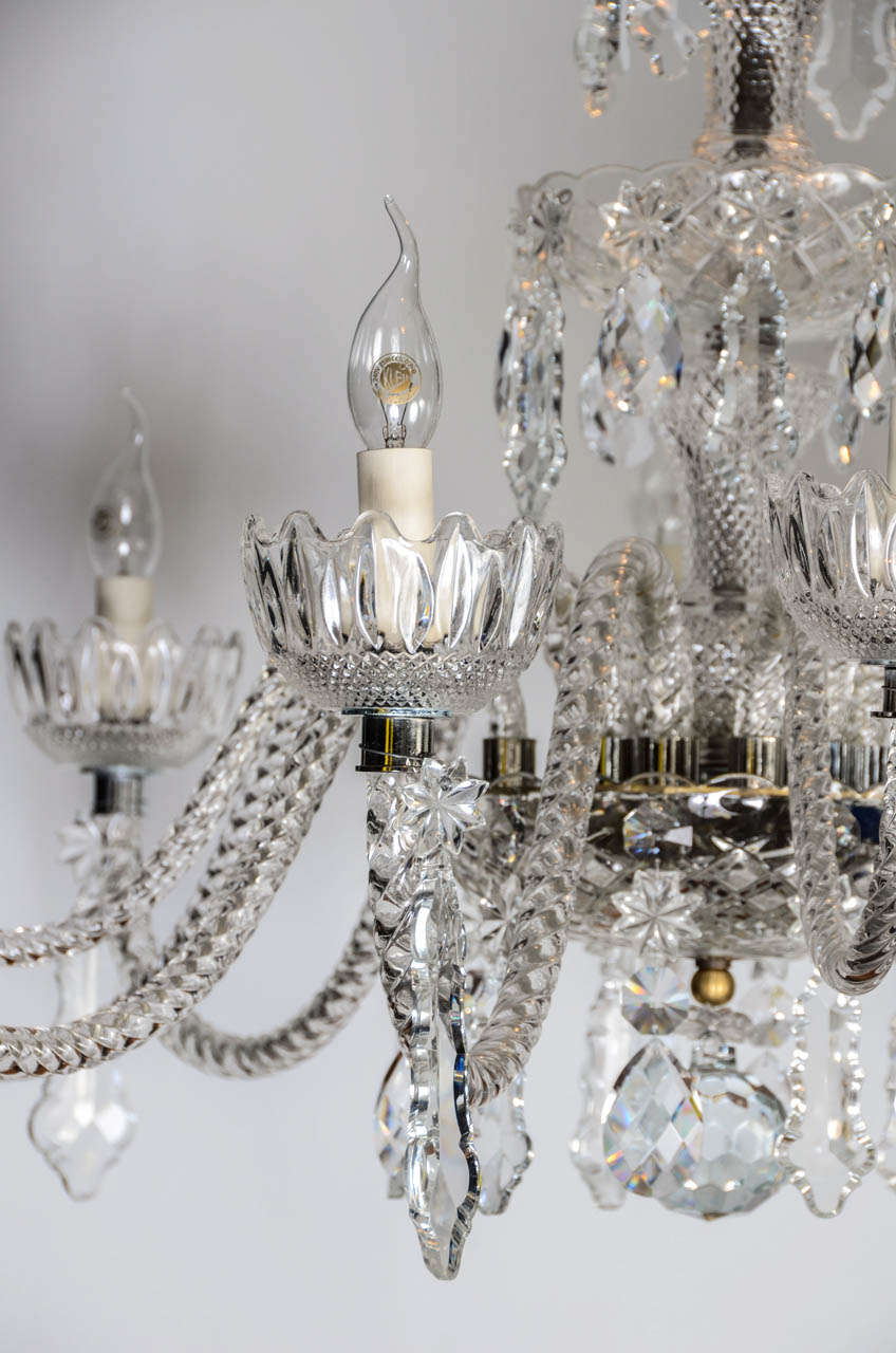 Late 20th Century Short Italian Mid Century 12 lights all  Crystal Chandelier For Sale