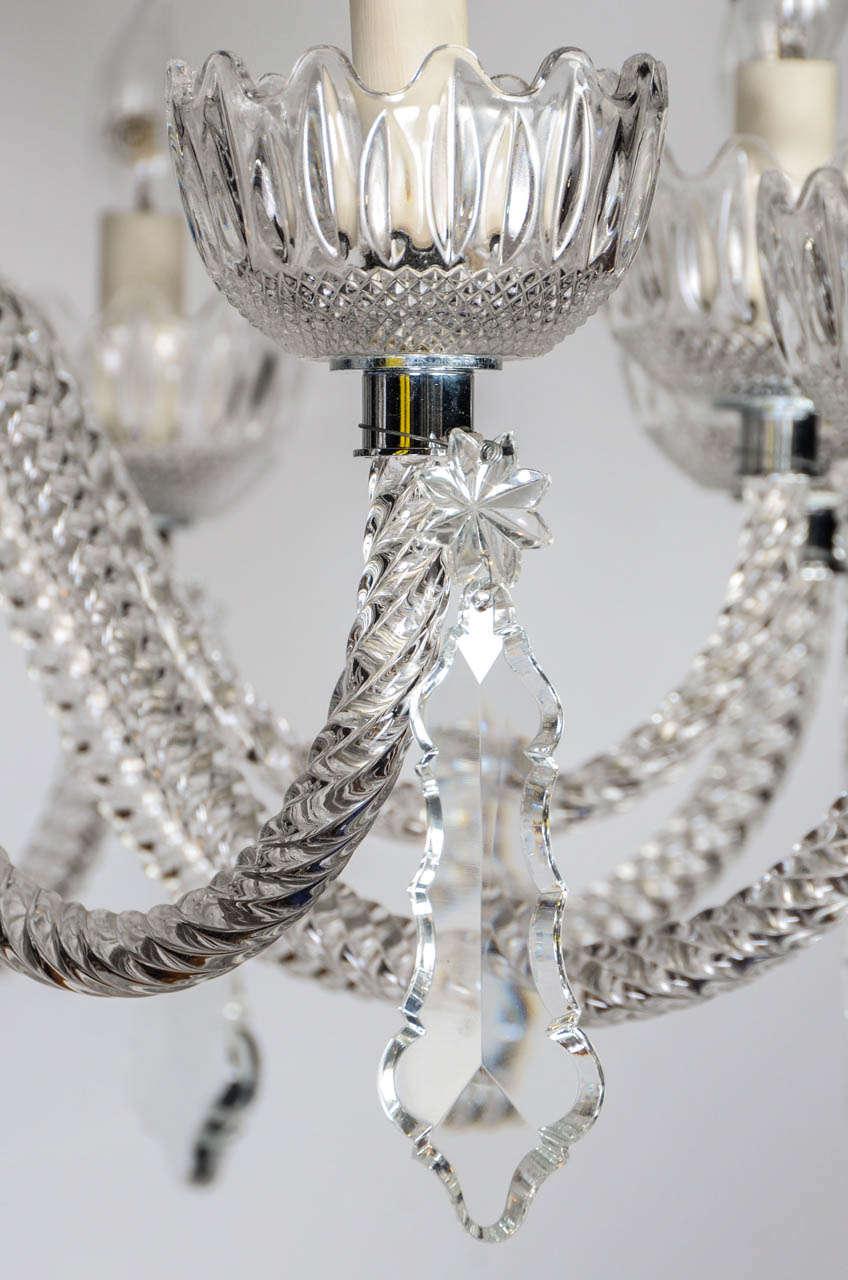 Short Italian Mid Century 12 lights all  Crystal Chandelier For Sale 1