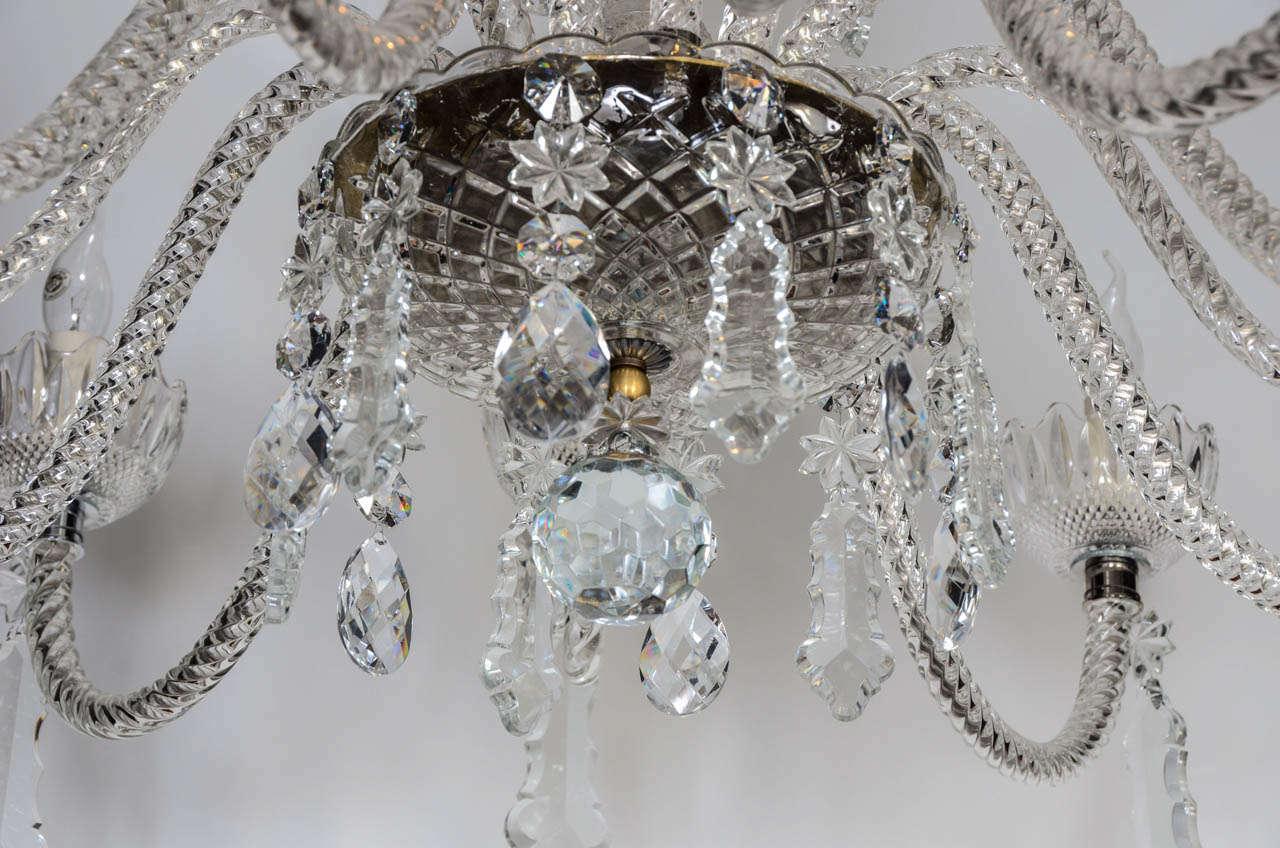 Short Italian Mid Century 12 lights all  Crystal Chandelier For Sale 3