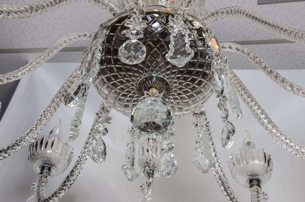 Short Italian Mid Century 12 lights all  Crystal Chandelier For Sale 4