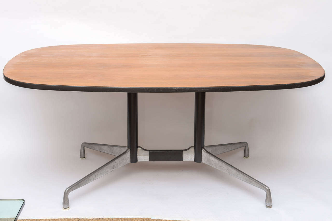 American Mid-Century Modern Aluminum & Wood Eames Conference Table For Sale