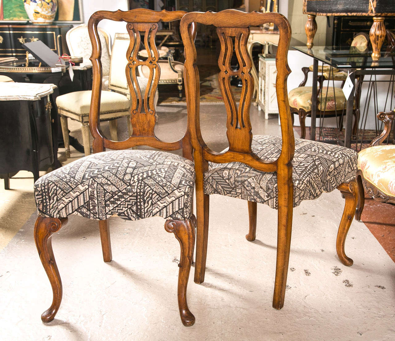 Set Ten Fine Queen Anne Styled Dining Chairs In New Fabric Walnut Cabriole  Legs