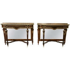 Pair of Louis XVI Style Console Pier Tables