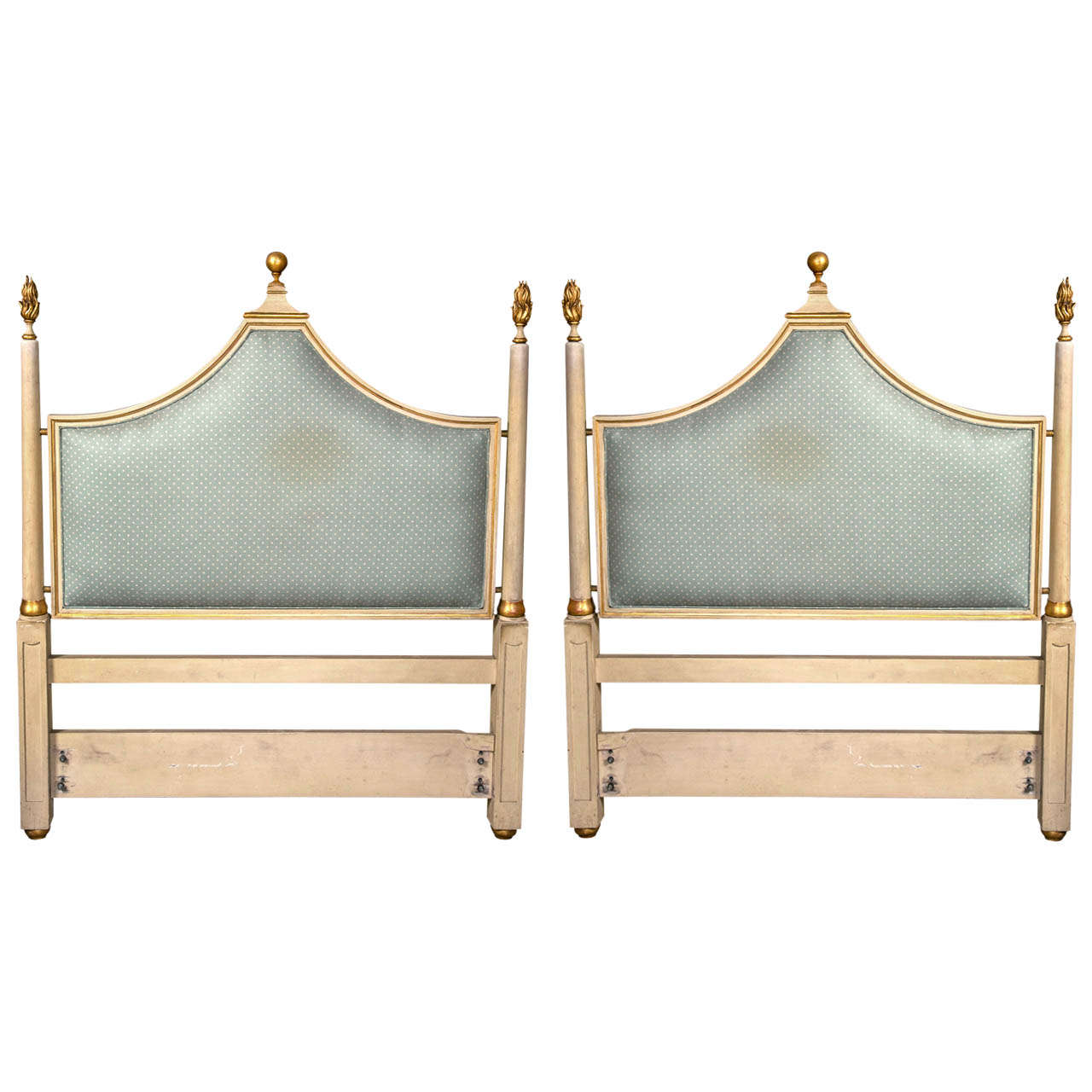 Pair of Paint Decorated Hollywood Regency Twin Headboards at 1stdibs
