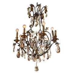 Maison Jansen Wrought Iron and Crystal Chandelier Eight Lights Circa 1900s
