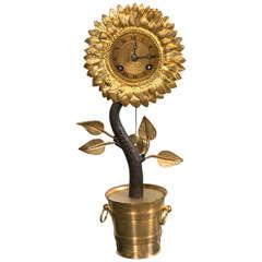 Bronze Sun Flower Clock