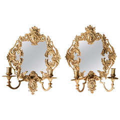 Pair of Louis XIV Bronze Dore Sconces