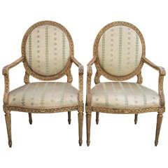 Set of Four Italian Louis XVI Gilt Ovalback armchairs