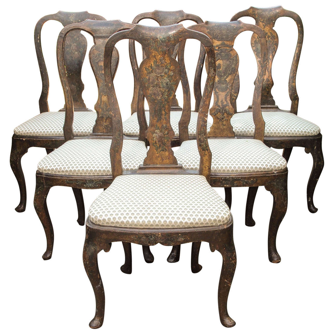 Charmant Set Of Six 18th Century Hand Painted Italian, Lucca Vase Splat Back Chairs