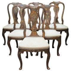 Set of Six 18th Century Hand-Painted Italian, Lucca  Vase Splat-Back Chairs