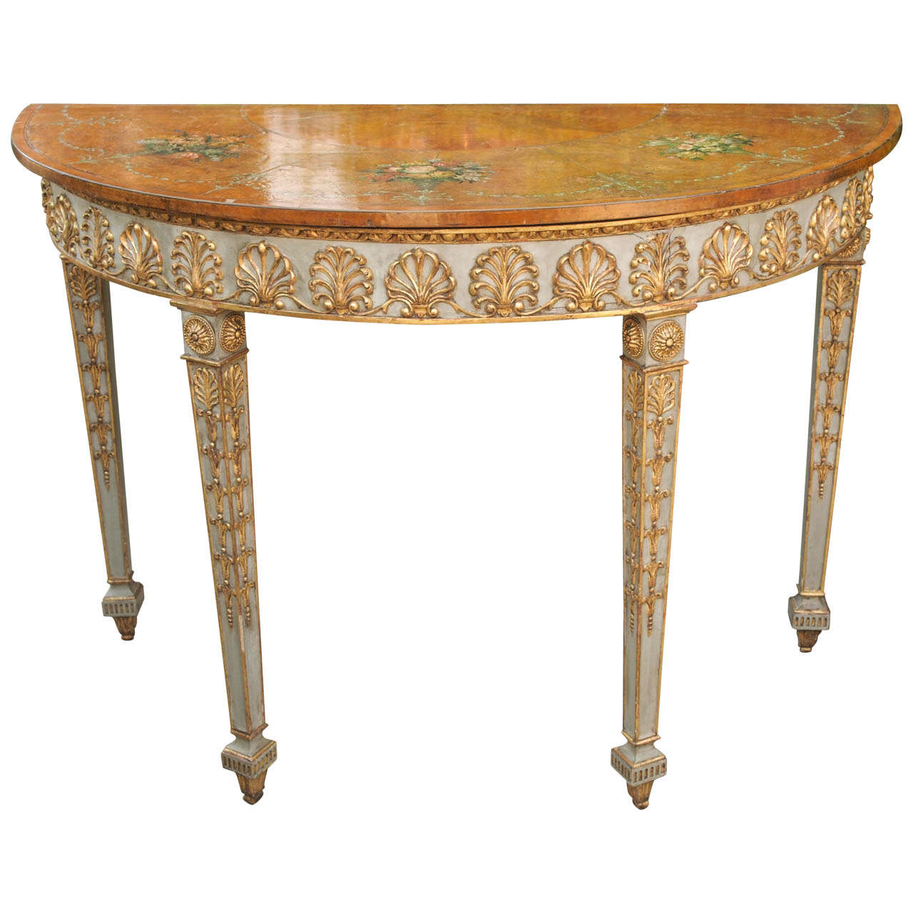 english demi lune table with painted decoration at 1stdibs. Black Bedroom Furniture Sets. Home Design Ideas