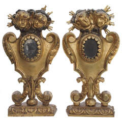 Pair of Italian Gilt Wood Reliquary with Putti Head Decoration