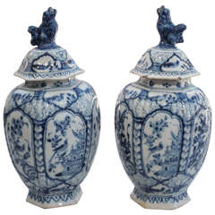 Pair of Late 18th/Early 19th Century Delft Ribbed Covered Jars