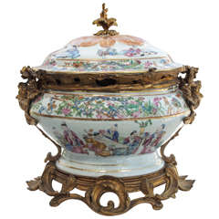 18th c. Chinese Export Tureen with Bronze Mounts