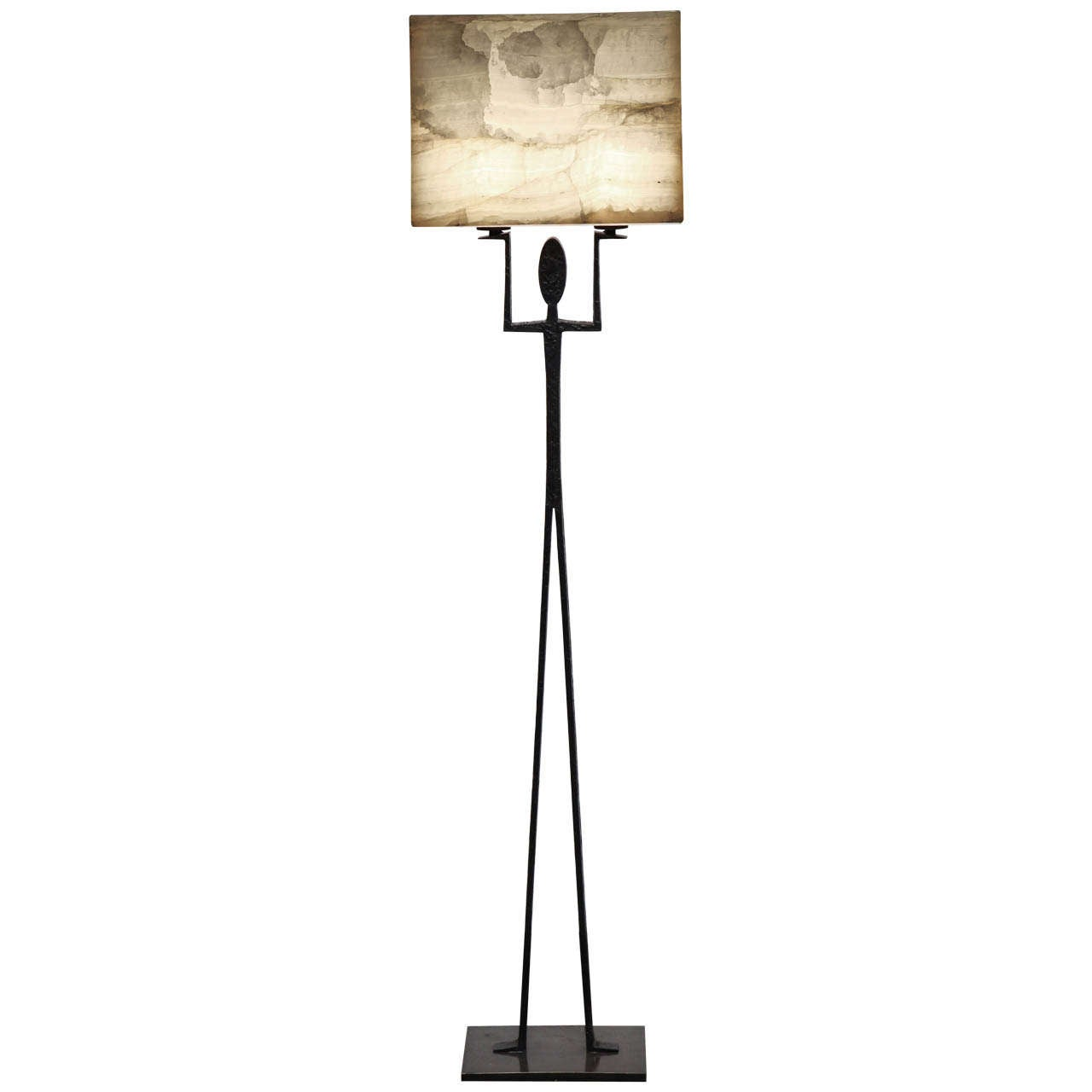 "Achille Salvagni, ""Hercules"", Onyx and Bronze Floor Lamp, Italy, 2013"
