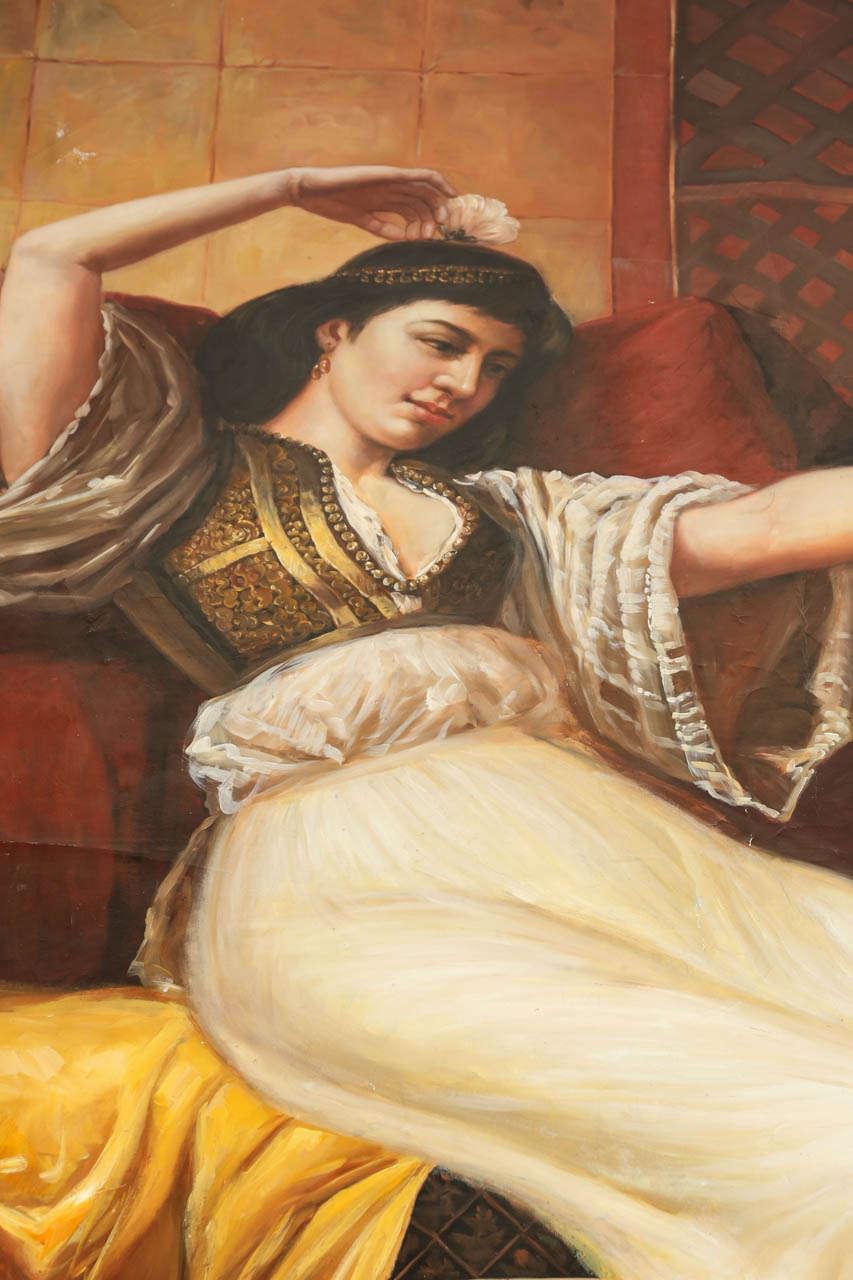 Painted Large Orientalist Moorish Oil on Canvas For Sale