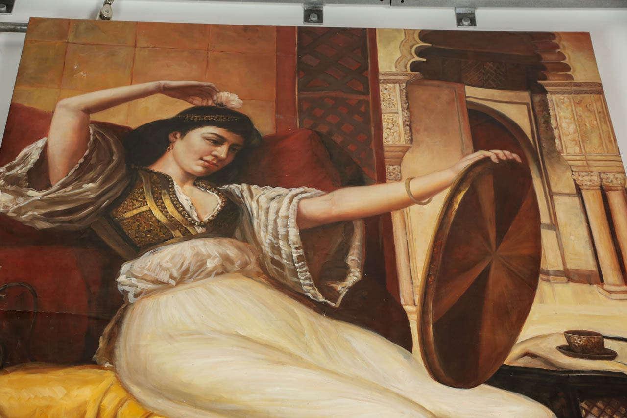20th Century Large Orientalist Moorish Oil on Canvas For Sale
