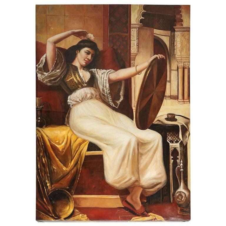 Large Orientalist Moorish Oil on Canvas For Sale