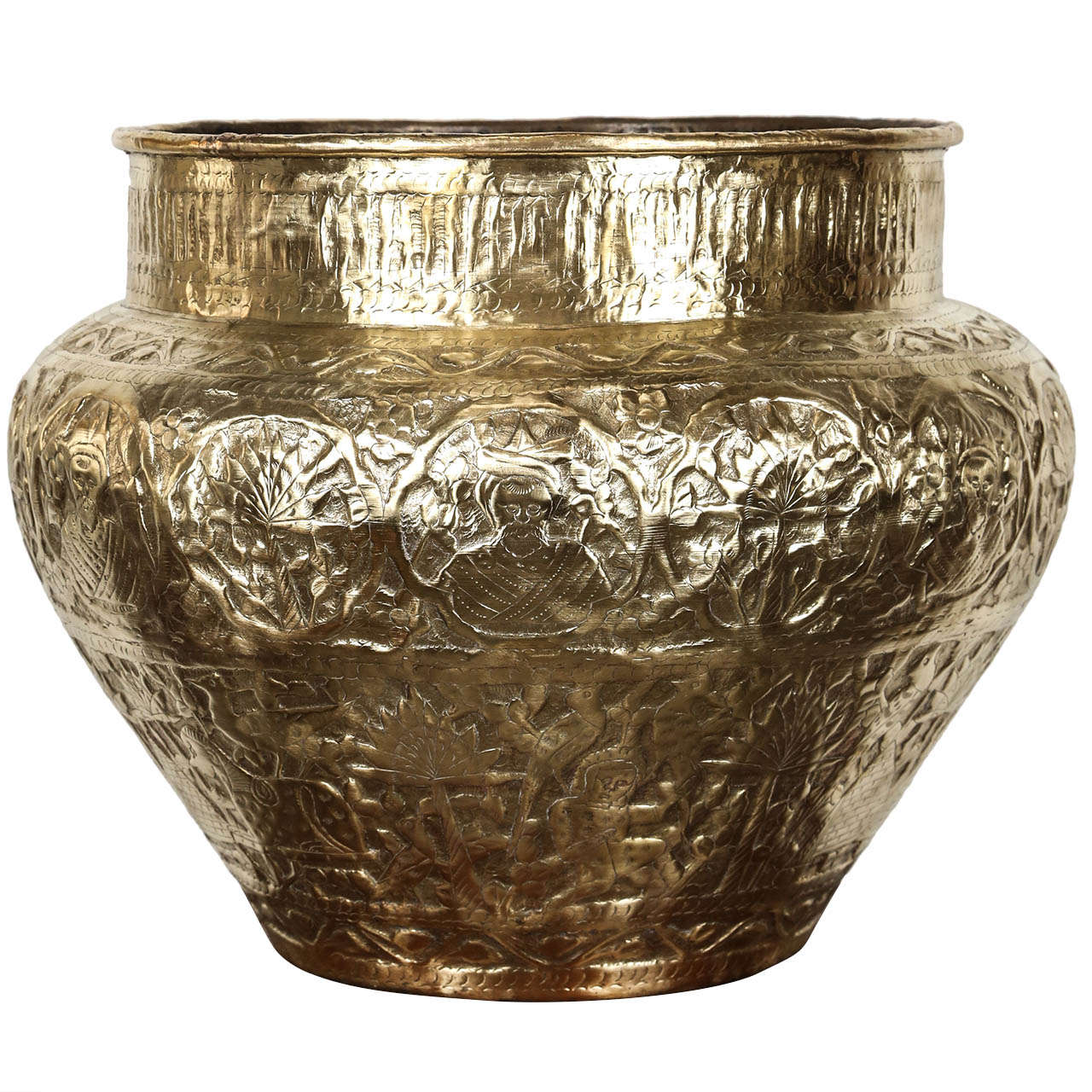 persian mameluke hand etched brass cache pot for sale at 1stdibs. Black Bedroom Furniture Sets. Home Design Ideas