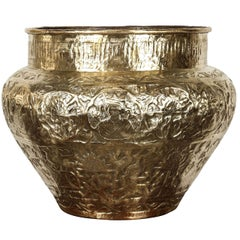Persian Mameluke Hand Etched Repousse Brass Cache Pot