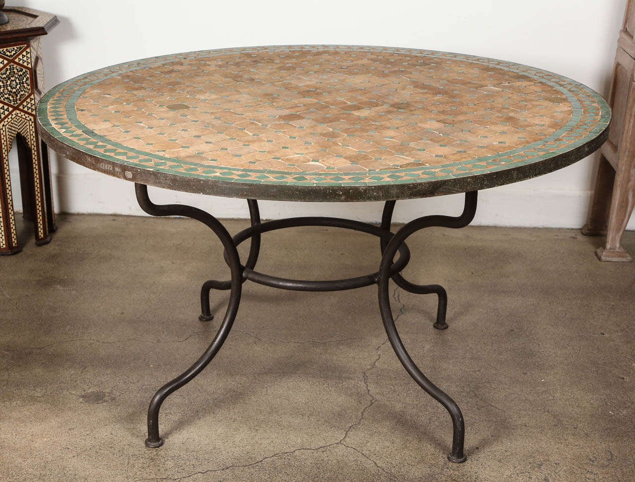 Traditional Moroccan Green And Tan Mosaic Tile Table Dining Height Could Be Used Indoor